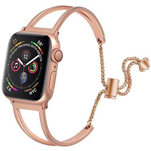 (hooroor Bracelet Compatible for Apple Watch Band 38mm 40mm/42mm 44mm, Feminine Bangle Cuff with Clover Pendant for iWatch Bands Series 4 3 2 1 Stainless Steel Metal Wristband Strap (Gold,)