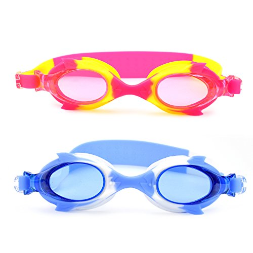 Micnaron Kids Swim Goggles-2 Pack, Super Clear Anti-fog Comfort Swimming Glasses for Children, Youth, Teens -No Leak,Waterproof,UV Protection W/ Ear Plugs&Protective Case - Glasses Next Prescription Day