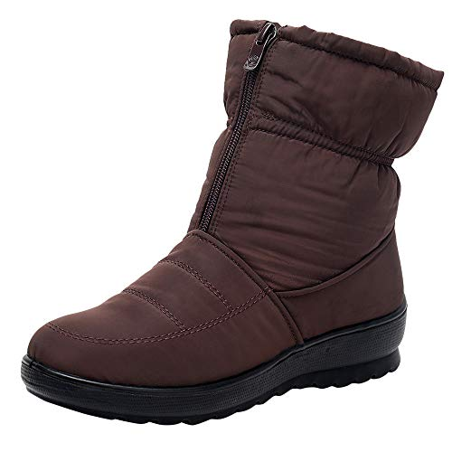 Women's Ladies Winter Waterproof Thermal Martin Short Thickened Snow Boots Footwear Warm Shoes (Brown, US:5.5) ()