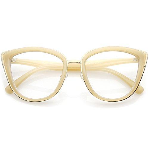 sunglassLA - Oversize Rimmed Metal Cat Eye Glasses Clear Lens 55mm (Creme Gold/Clear) from sunglassLA