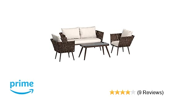 AmazonBasics 4-Piece PE Rattan Wicker Outdoor Furniture Patio Set