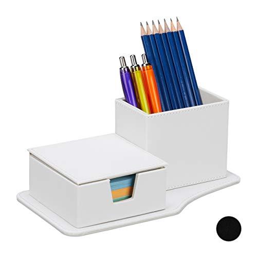 Relaxdays Schreibtisch Organizer Organizador para Notas y bolígrafos (Piel sintética, 9 x 23,5 x 12 cm), Color Blanco, 1 Unidad
