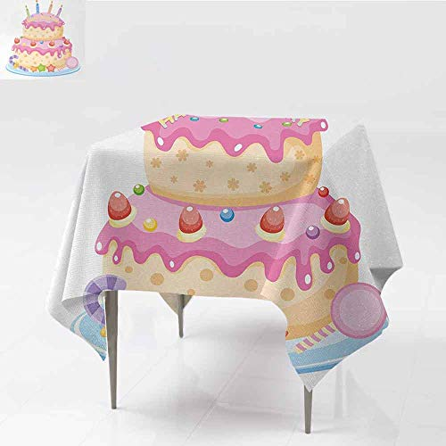 - DILITECK Washable Table Cloth Kids Birthday Pastel Colored Birthday Party Cake with Candles and Candies Celebration Image Party W50 xL50 Light Pink