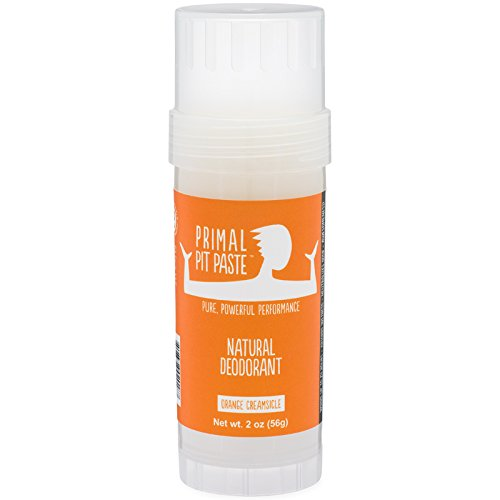 Primal Pit Paste All Natural Orange Creamsicle Deodorant – Aluminum Free, Paraben Free, Non-GMO, for Women and Men – BPA Free 2 Oz Stow-and-Go Stick – Scented with Essential Oils