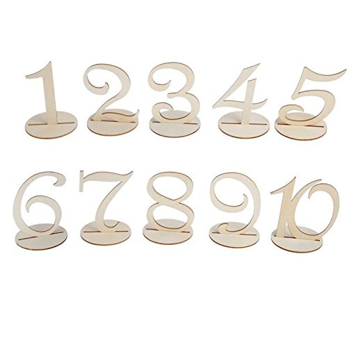 Giga Gud 10pcs (1-10) Wooden Table Numbers for Party Home Decoration Vintage Birthday Event Banquet Anniversary Decor Natural Wooden Catering Reception Table Decoration