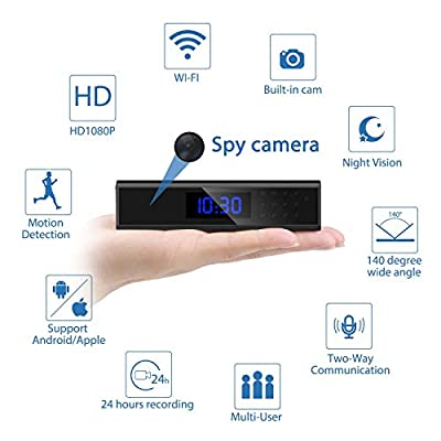 Jayol Spy Hidden Camera, Upgraded 1080P Recorder Wireless WiFi Hidden Camera in Clock, IP Covert Cameras with Night Vision, Motion Detection, Pet Baby Monitor and Home Security Nanny Cam-Sony Lens from Jayol