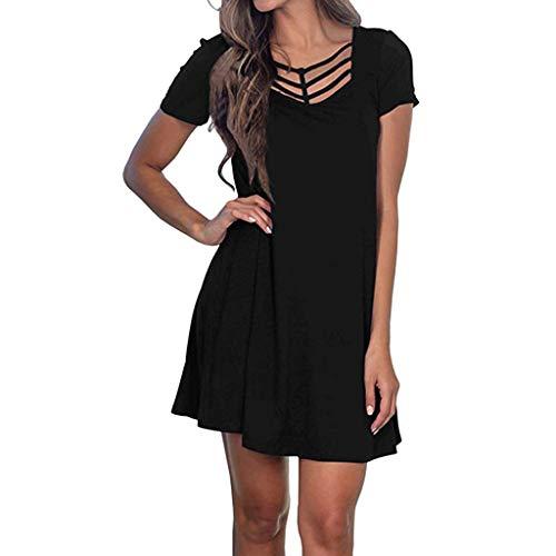t Shirt Dress for Women,ONLYTOP Women Summer Casual T Shirt Dresses A Line Swing Simple Mini Dress Plus Size Black ()