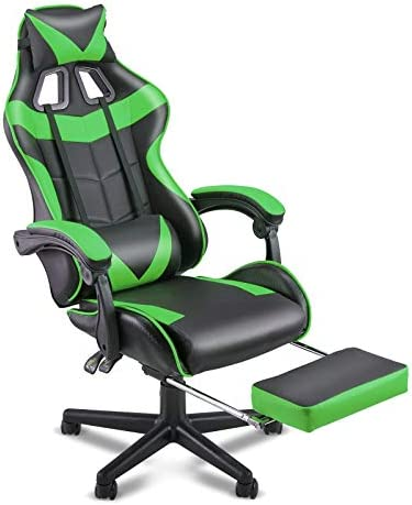 SOONTRANS PC Gaming Chair,Racing Chair for Gaming,Computer Chair,E-Sports Chair,Ergonomic Office Chair with Retractable Footrest and Adjustable Headrest and Lumbar Support(Jungle Green)