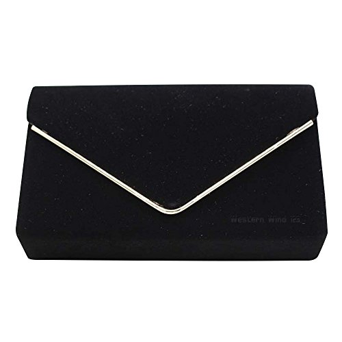 Handbag Velvet Fashion Ladies Wedding Womens Purse Wocharm Shoulder Party Prom Bag Black Clutch Envelope Gold Trim Bag AZwFxH