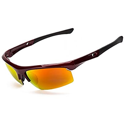 Shieldo Polarized Sports Sunglasses For Men And Women Shooting Running Cycling Fishing, Mirrored Integrated Polarized Lens Unbreakable Frame SDH003