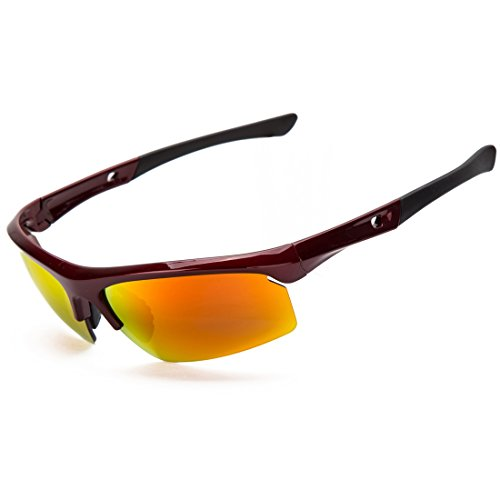 Shieldo Polarized Sports Sunglasses For Men And Women Shooting Running Cycling Fishing, Mirrored Integrated Polarized Lens Unbreakable Frame SDH003 (Red-Orange) by Shieldo