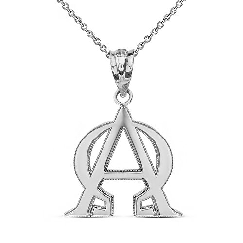925 Sterling Silver Alpha and Omega Christian Symbols Pendant Necklace, 22