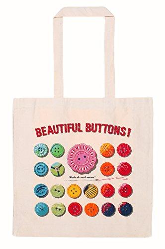 Sacca in cotone, motivo: bottoni