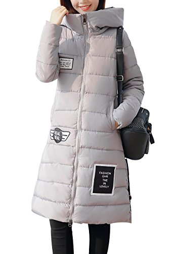 OMZIN Women's Down Coat With Fur Hood With 90% Down Parka Puffer Jacket Gray L (Goosedown Canada)
