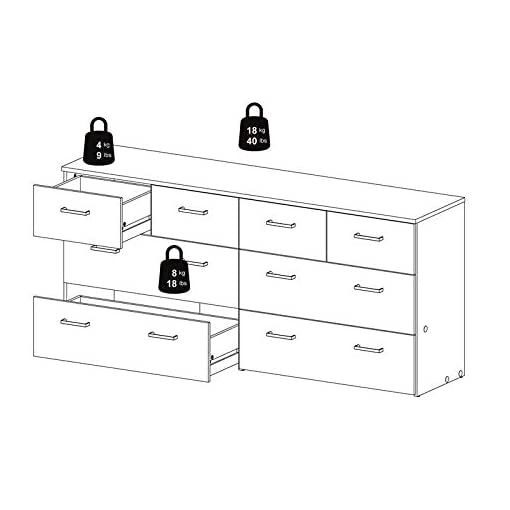 Bedroom Tvilum 8 Drawer Double Dresser, Oak Structure, White modern dressers