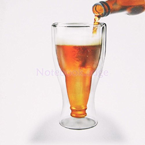 Glass Cup 350ML Clear Double-deck Glass Tea Milk Cup Coffee Mug Beer Shaped - Edge Milk Glass