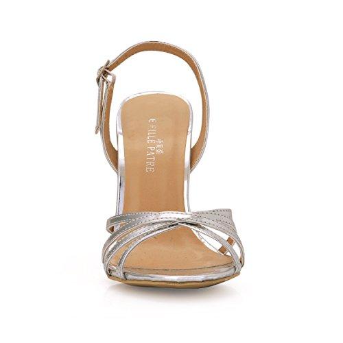 Sandales Haut Banquet Silver Chaussures Talon Femme À Pour Élégance Sangles D'été Femmes Grandes D'argent Les 1PqYZPd