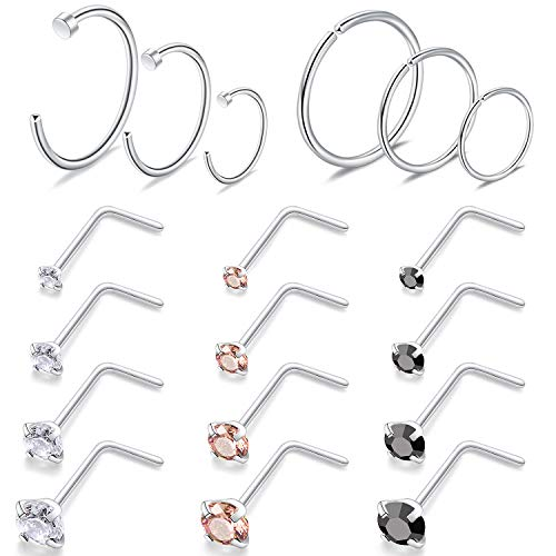 22g 18 Pcs Stainless Steel Nose Rings Studs L Shape Piercing Body