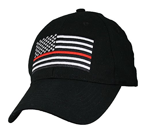 (Eagle Crest Fire Department Thin Red Line with Flag Baseball Cap)