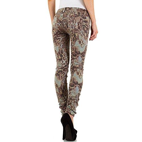 Mozzaar Gemusterte Low Skinny Jeans Für Damen , Braun In Gr. S bei Ital-Design