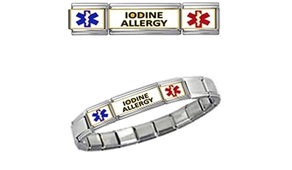 IODINE ALLERGY MEDICAL ID 9mm + Italian Charm SILVER TONE MATTE BRUSHED Starter Bracelet 8Is2omu6