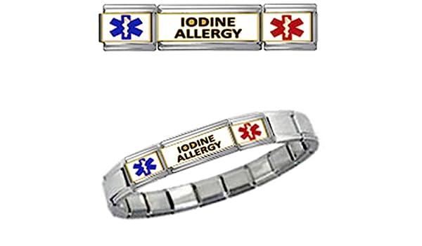 IODINE ALLERGY MEDICAL ID 9mm + Italian Charm SILVER TONE MATTE BRUSHED Starter Bracelet