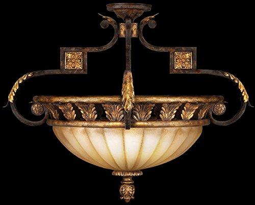 Light Castile 3 (Fine Art Lamps 234645, Castile Round Blown Glass Semi Flush Lighting, 3 Light, 300 Watts, Gold Leaf)