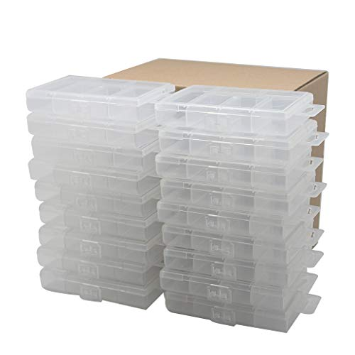 Wedge Anchor Kit - BangQiao 18 Pack Tiny Plastic Clear Storage Parts Case Box with 6 Fixed Grids for Nail, Screw, Fastener, Hook, Hanging Kit, Wall Anchor and Wedge