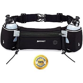 BRINGIT Running Hydration Belt with Water Bottles (2 x 10oz), Fuel Belt Fits Iphone 6s Plus for Running, Race, Marathon, Hiking, Adjustable Waist Hydration Pack, Men & Women Runners Belt