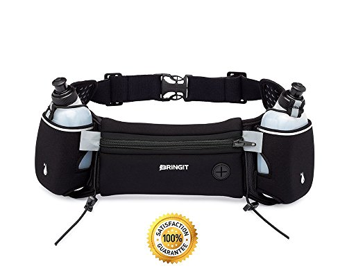 BRINGIT Running Hydration Belt with Water Bottles (2 x 10oz), Fuel Belt Fits Iphone 6s Plus for Running, Race, Marathon, Hiking, Adjustable Waist Hydration Pack, Men & Women Runners Belt