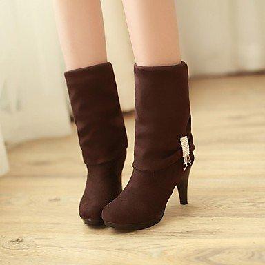 DESY Mujer Zapatos Aterciopelado Cuero Patentado Otoño Invierno Botas de Moda Botas Tacón Stiletto Dedo redondo Hasta la Rodilla Con Para brown