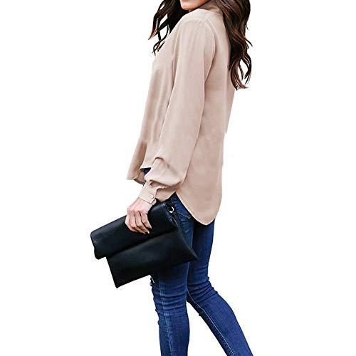 Strappy Printemps Chemise Manche Longues Kaki Elgante Cou Manches V Shirts Chic Blusen Bowknot Mode Femme Uni Jeune Irrgulier Top Casual Haut qwn7xaxE6Y