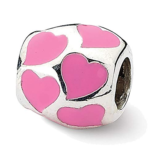 Lex & Lu Sterling Silver Reflections Pink Enameled Hearts Bead