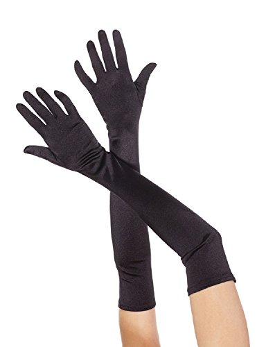 Long  (Black Extra Long Satin Gloves)