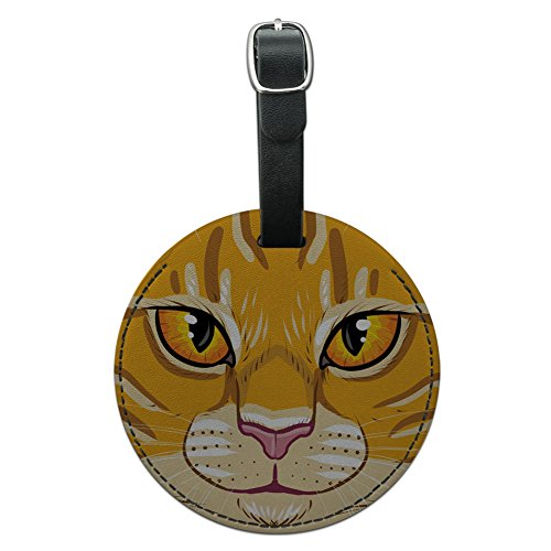 Tabby Cat Face - Graphics & More Orange Tabby Cat Face Pet Kitty Round Leather Luggage Id Tag Suitcase Carry-on, Black