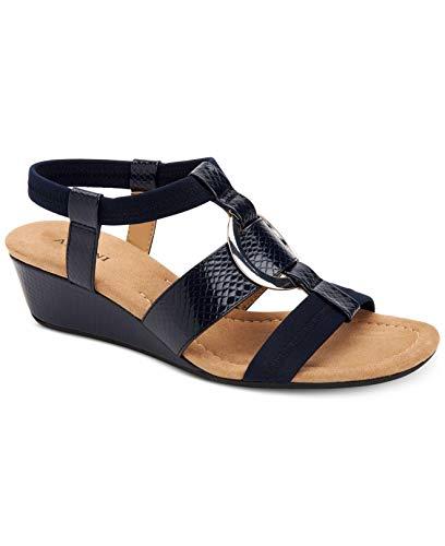 Alfani Womens Vennice Open Toe Casual Slingback Sandals, Navy, Size 6.0