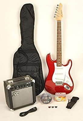 SX RST coche w/ga1065 Tamaño Completo Guitarra Eléctrica Paquete W/Guitarra, amplificador, correa y DVD con instrucciones