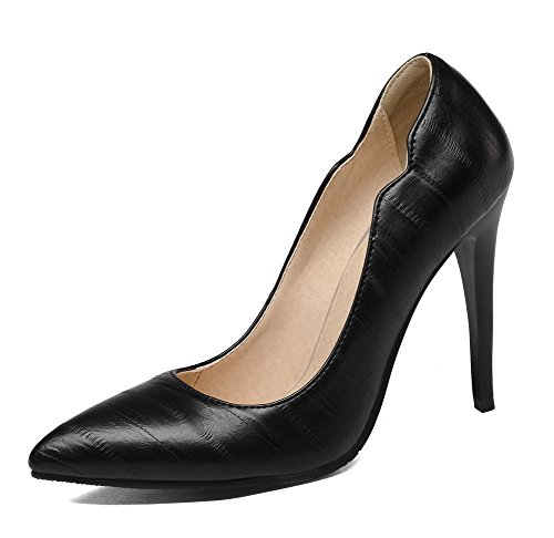 PU 39 WeiPoot Solid Toe On Women's Shoes Pull Heels Pumps High Closed Black tt167