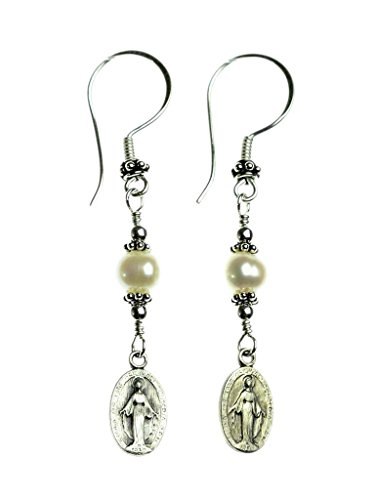 Sterling Silver, Freshwater-Cultured Pearls with Miraculous Medal Earrings ()