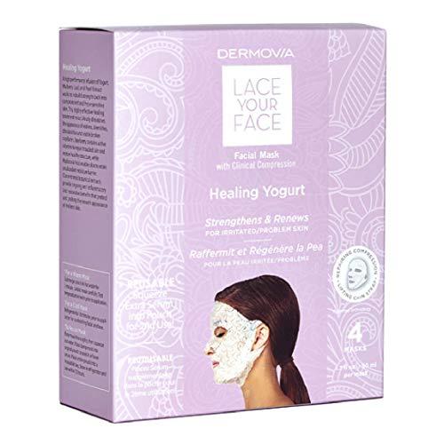 Yogurt Facial Mask - LACE YOUR FACE Compression Facial Mask - Healing Yogurt Milk - 4 Pack Box