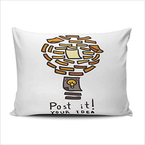 ONGING Decorative Pillowcases Concept Light Bulb Metaphor for Good Idea Customizable Cushion Standard Size 20x26 Inch Throw Pillow Cover Case Hidden Zipper One Sided Design Printed