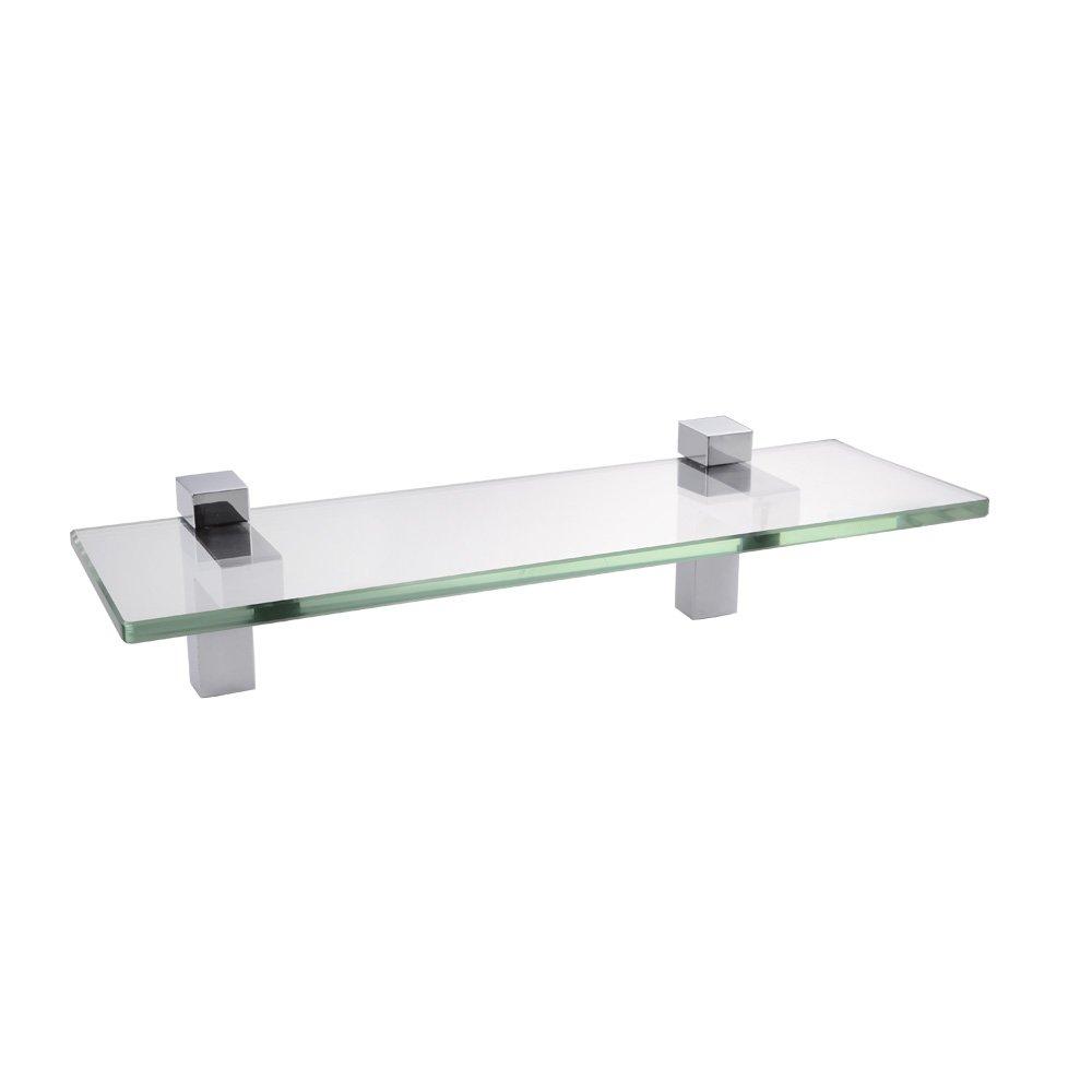 KES Bathroom Tempered Glass Shelf 14'' 8MM-Thick Wall Mount Rectangular, Polished Chrome Bracket, BGS3201S35