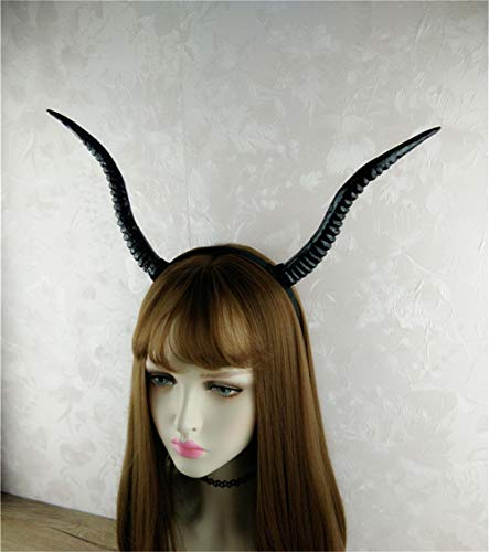 Gothic Black Simulation Antelope Sheep Horn Hoop Headband Cosplay Fancy Dress Clothes Halloween Christmas Photo Shoot Props