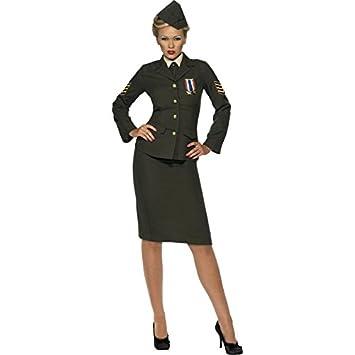 Smiffys-35335M Disfraz de Oficial de Guerra, Falda, Chaqueta con Medalla, Pechera de Camisa, Corbata, Gorra, Color Verde, M - EU Tamaño 40-42 (35335M