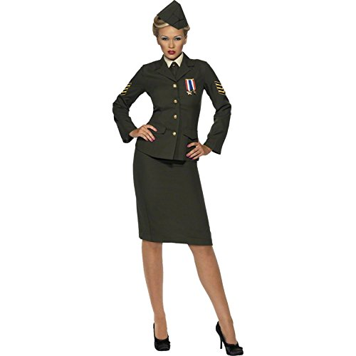 Shirt Army Adult Costumes (Smiffy's Women's Wartime Officer Costume, Green, Medium)