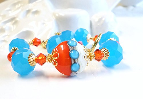 Orange Blue Lampwork Glass Swarovski Crystal Bracelet by H&H Jewelry Designs
