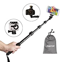 Telescopic Handheld Monopod Selfie Stick Pole with Bluetooth remote Shutter Button for iPhone 6 5 5S 4S 4 Samsung Galaxy S5 S4 S3 Note 3 2 and other Android Smartphones and Tripod Mount for Gopro Hero 3+ 3 2 1 Digital Camera and Camcorder