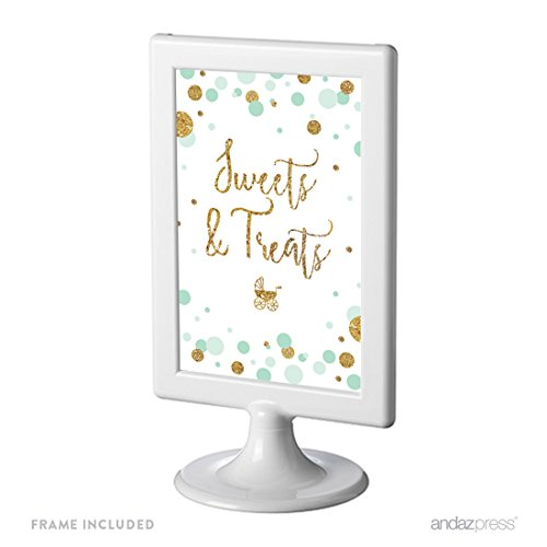 Andaz Press Mint Green Gold Glitter Boy Baby Shower Party Collection, Framed Party Sign, Sweets & Treats Table Signage, 4x6-inch, 1-Pack, Includes - Mint Framed Photo