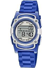Kids Digital 8 Alarm Vibrating Watch Medication Reminder Potty Urinary Training Vibration Pill Alert Vibra Medical Reminder for Children (Dark Blue)