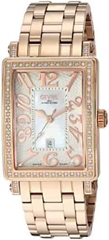 Gevril Woman's 'Ave Of Americas Mezzo' Quartz and Stainless Steel Rose Gold Toned Diamond Watch